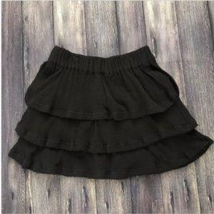 IRO Black Tiered Frayed Hem Zinnia Mini Skirt